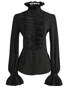 c4249ac458 DEARCASE Women Stand-Up Collar Lotus Ruffle Shirts Blouse Gothic Fashion