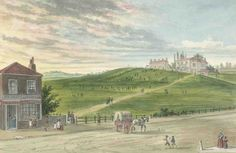 Spa Fields in the 1790s: a recreation of 1857 by Charles Matthews, looking east from Bagnigge Wells Road to Merlin's Cave at the top of the hill.