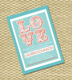 Vintage LOVE Bridal/Wedding Shower by SunshinePrintables on Etsy, $15.00