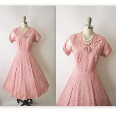 1950's Cocktail Dress // 50's Pink Lace Full by TheVintageStudio, $68.00