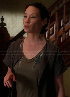 Joan's crow graphic dress on Elementary.  Outfit Details: http://wornontv.net/40533/ #Elementary