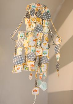 Very creative #nursery #mobile- just piece together whatever fabric scraps you have around the house. #diy