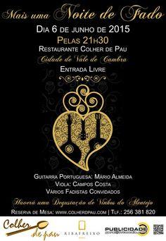 Noite de Fado > 6 Junho 2015, 21h30 @ Restaurante Colher de Pau, Vale de Cambra