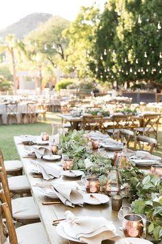 copper and greenery wedding reception decor #weddingreception
