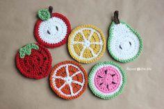 Repeat Crafter Me: Crochet Fruit Coasters Pattern (apple, lemon, pear, strawberry, orange, watermelon)
