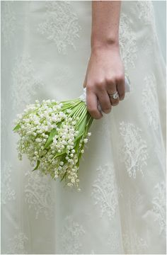 Lily of the Valley, great bridal bouquet, add a forget me not for something blue?