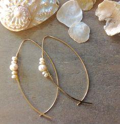 "South Sea Pearl Hoop Style Wire Earrings True Beauty White South Sea Genuine Pearl Gold Wire Earrings - Copper/Genuine Pearl Material: ZINC Dimensions: 1 1/2"" W x 2 3/4"" L"