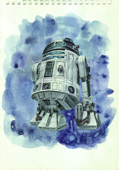 R2D2 / acrylic on paper / by monsterWAi