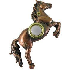 Horse Doorbell Cover Lighted for sale online Bedroom Door Handles, Doorbell Cover, Cast Iron Bench, Equestrian Style, Stables, Pet Birds, 3 D, Plating, Home Improvement