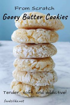 Tender soft Gooey Butter Cookies made from scratch! These delightful morsels are rolled in powdered sugar then baked creating a delicious crackly crust that contrasts with the center. No cake mix no chilling required! Goey Butter Cookies, Gooey Cookies, Cake Mix Cookies, Yummy Cookies, Butter Cakes, Cookies With No Butter, Powdered Sugar Cookies, Cookie Butter, Sandwich Cookies