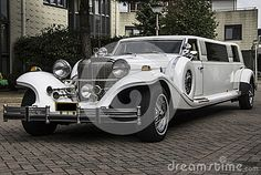 White limousine taken from the left front