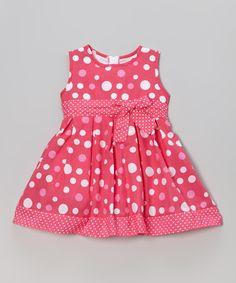 Loving this Littoe Potatoes Fuchsia Polka Dot Sleeveless A-Line Dress - Toddler & Girls on #zulily! #zulilyfinds
