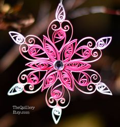 Handmade Quilled Pink Snowflake Christmas Ornament by TheQuillery