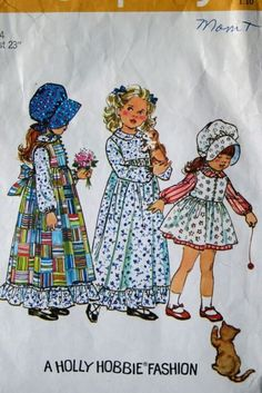 vintage 70's Simplicity 5996 girls' HOLLY HOBBIE dress, pinafore and bonnet pattern