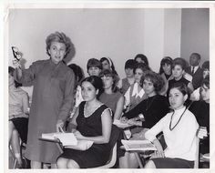 Bel Kaufman teaches at the Borough of Manhattan Community College in 1954.  Kaufman is a writer, teacher, and lecturer best known for her classic novel Up the Down Staircase, about a young teacher's efforts to reach her students and the odd, amusing, and poignant ways that the students respond.