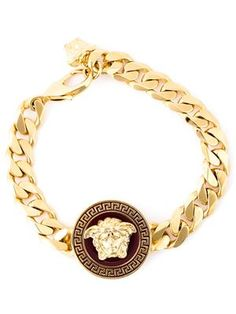 Compre Joias Masculinas - Versace - Farfetch Cute Jewelry, Jewelry Accessories, Jewelry Design, Cool Mens Bracelets, I Love Gold, Gold Everything, Diamond Bracelets, Leather Chain, Luxury Jewelry