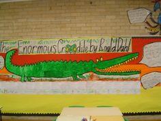 "A very large ""Enormous Crocodile"" bulletin board display!"