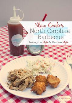 Slow Cooker North Carolina Barbecue Recipe (with 2 Sauces) #ad #pmedia #PutPorkontheMenu @smithfieldfoods