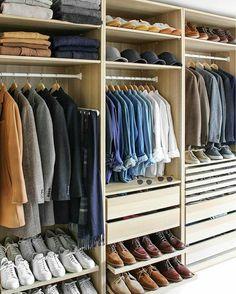 Guide To Capsule Wardrobe - Build A Perfect Capsule Wardrobe For Men Build A Wardrobe You Love. Learn How To Build A Timeless Capsule Wardrobe.Build A Wardrobe You Love. Learn How To Build A Timeless Capsule Wardrobe. Walk In Closet Design, Bedroom Closet Design, Master Bedroom Closet, Closet Designs, Men Closet, Wardrobe Closet, Closet Space, Closet Doors, Wardrobe Ideas