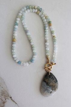 Ocean Jasper and Aquamarine Lariat Necklace - The Alyssa Necklace