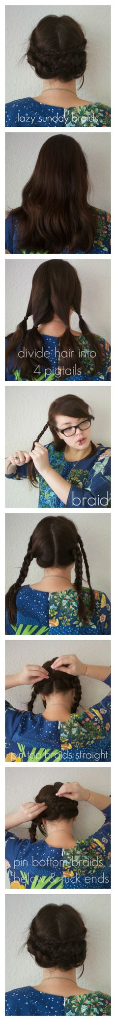 Lazy Sunday Braids - Frocks & Frou Frou. This is a good tutorial for hair the length of mine. Yay!