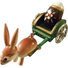 @rubylanecom All Wood Hand Painted Bunny Pulling Cart, Spain #rubylane