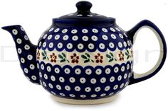Polish Pottery 34 oz Tea or Coffee Pot | Boleslawiec Stoneware | Polmedia H7485C