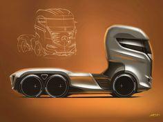 Futuristic Vehicle, Mercedes-Benz Axor Truck Concept Design Sketch