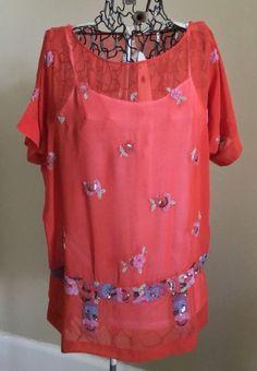 189c6e4f2f9f6f Antique 1920s SILK BEADED Flapper TOP TUNIC Dress Blouse Orange Embroidered