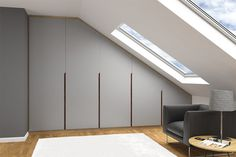 Scandi - range of fitted wardrobes with real wood grooved handles Eaves Storage, Loft Storage, Attic Bedroom Designs, Bedroom Loft, Attic Loft, Attic Rooms, Attic Renovation, Attic Remodel, Loft Conversion Bedroom