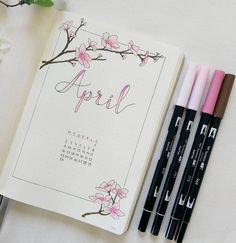 Pin von diytattoo auf diy tattoo bullet journal, february bullet journal un April Bullet Journal, Bullet Journal Cover Page, Bullet Journal Spread, Bullet Journal Layout, Bullet Journal Inspiration, Journal Pages, Journal Ideas, Bullet Journals, Bullet Journal Hand Lettering