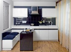 Kitchen interior design black and black and white-18