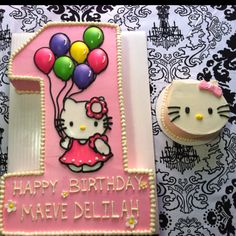 The special cake my neighbor made for Maeve's 1st Birthday :) Complete with her very own hello kitty smash cake! Hope Capstick definitely rules! <3