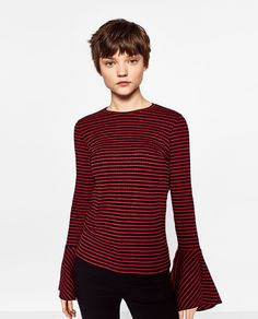 RIBBED FRILLED SWEATER from Zara
