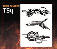 CAS Professional Airbrush Stencil - TS4 - TECH-SHAPES 4