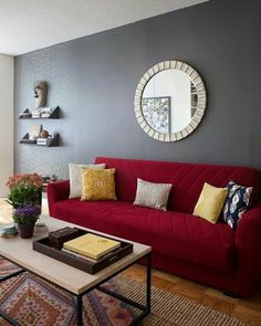 living room illustration description living room red sofa nyc diana mui interior design west elm box frame basic coffee table read more - Interior Design Living Room Color