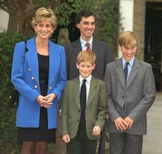 September 1995: The Princess Diana with Prince William and Prince Harry outside Manor House at Eton College with housemaster Dr Andrew Gailey on Prince William's first day at the school