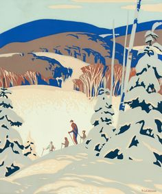 'Skiers' by Alfred Joseph Casson at Cowley Abbott Group Of Seven Art, Group Of Seven Paintings, Canadian Painters, Canadian Artists, Tom Thomson Paintings, Most Famous Artists, Ontario, National Art, Landscape Paintings