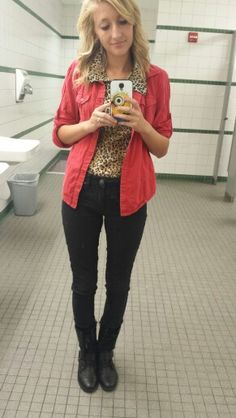 #ootd black lace skinnies. Black combat boots. Cheetah print tank. Red button up shirt.