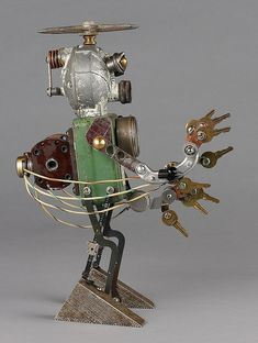 Found object robot assemblage sculpture by adopt-a-bot