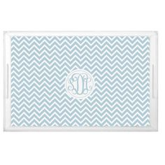 Classic Chevron Pattern Monogrammed Lucite Serving Tray