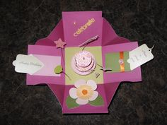 Exploding Box Birthday Card - interior. Made with DVWV Baby Girl paper. Cricut cartridge 'Mini Books' and 'Flower Shoppe'