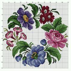 301 Beğenme, 0 Yorum - Instagram'da Hurrem bilgin (@blgn.hrrm) Crochet Cross, Cross Stitch Designs, Cross Stitch Charts, Cross Stitch Patterns, Embroidery Patterns Free, Hand Embroidery, Cross Stitch Embroidery, Violets, Pillowcase Pattern