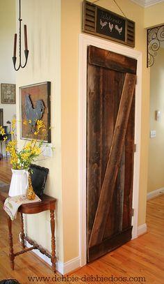 DIY Farmhouse Barn Wood Style Door Makeover!!