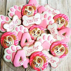 Girly paw patrol cookies #pawpatrolcookies #pawpatrol #skye #sugarcookies #decoratedcookies #losangeles #birthdayparties #birthdaytreats #kidsbirthdayparties