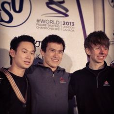 Denis Ten(Kazakhstan),Patrick Chan(Canada) and Kevin Reynolds(Canada) : World Figure Skating Championships 2013 in London(CANADA)