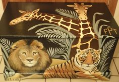 Custom Jungle Safari Toy Chest With Monogram Or Name, Kids Furniture, Art And…