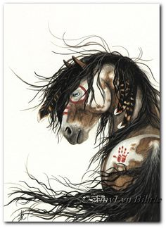 Majestic Horses Pinto War Paint Native Feathers - ArT Prints or ACEO by Bihrle mm46