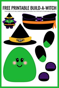 Use this free printable paper witch template to build-a-witch for Halloween! This fun craft helps children improve their cutting and pasting skills. Halloween Paper Crafts, Manualidades Halloween, Halloween Crafts For Toddlers, Halloween Activities, Fun Crafts For Kids, Toddler Crafts, Halloween Kids, Halloween Fabric, Daycare Crafts