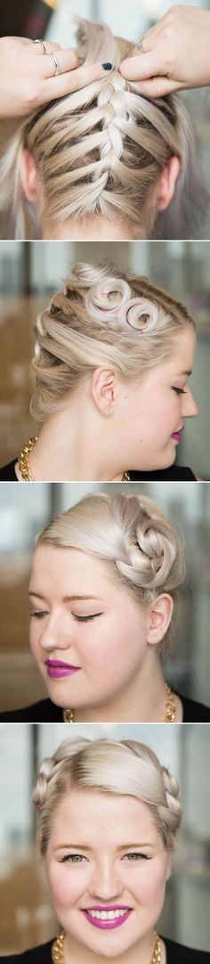 10. Braid your hair from back to front, since any layered shorter pieces in the front might be hard to weave into a plait.